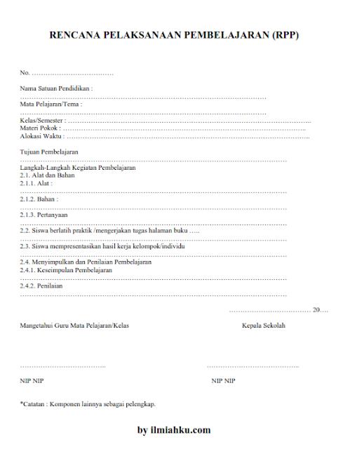 Download Kumpulan RPP 1 Lembar Sesuai Permendikbud No 14 Tahun 2019