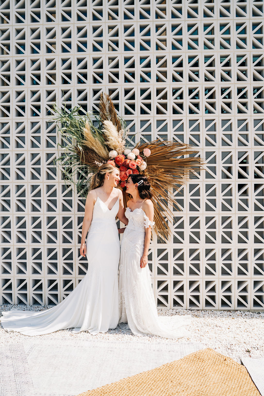 dani bartlett photography tropical twist floral design pampas grass bridal gowns jewellery bridal hair makeup