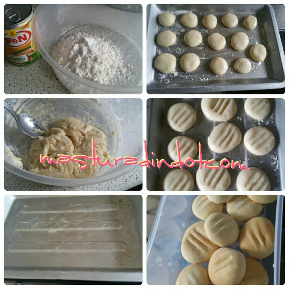 biskut susu viral 2 bahan, resipi mudah biskut raya, biskut susu