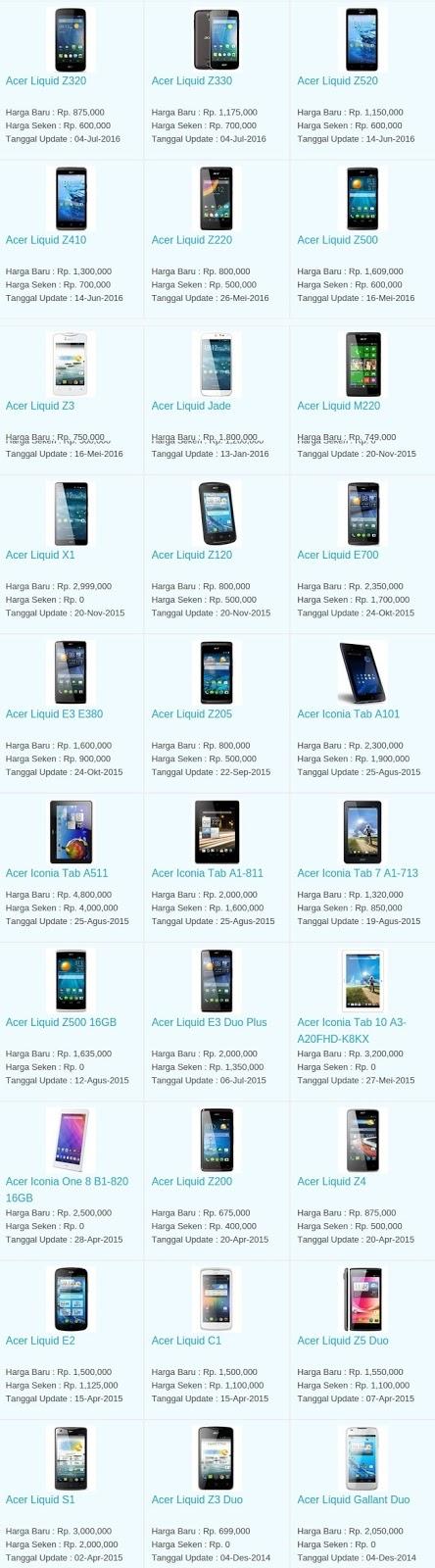 Daftar Harga Hp Terbaru Acer Juli 2016