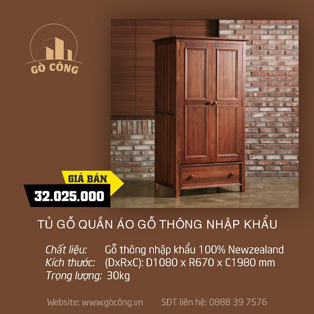 Tủ gỗ quần áo gỗ thông nhập khẩu 100% Newzealand - Madeleine Sangzom dòng Litch