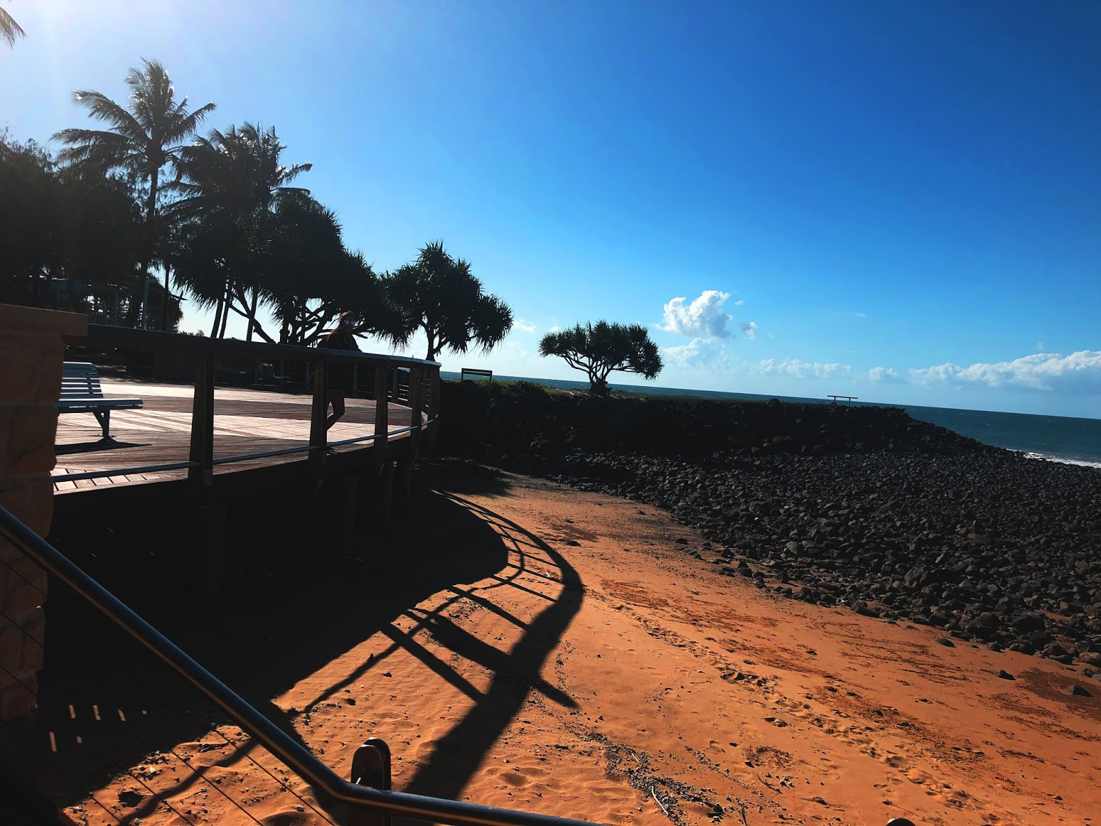 Bargara beach with palms