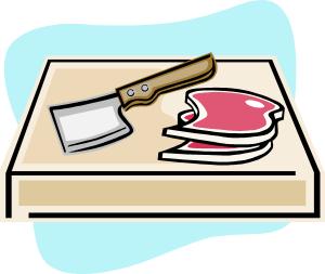 viande sur une planche à découper (dessin)