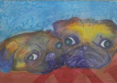 watercolor of pugs by artist, Liz McDevitt