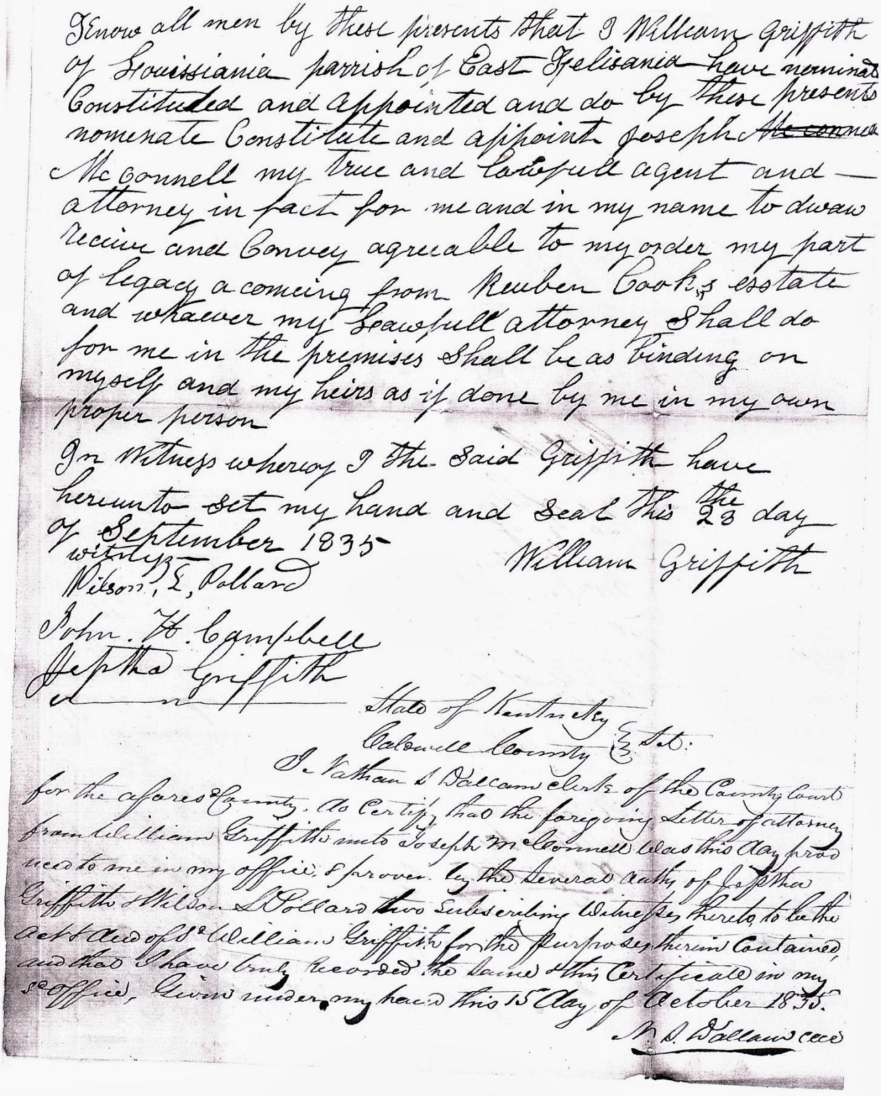 Western Kentucky Genealogy Blog: Power of Attorney