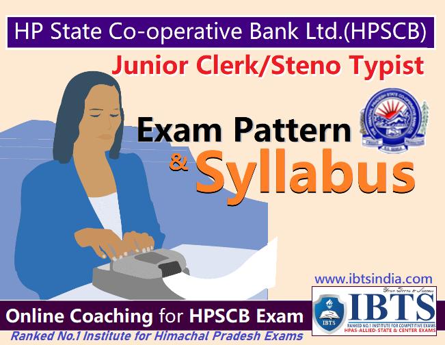 Syllabus & Exam Pattern of HP State Co-operative Bank (HPSCB) Junior Clerk Steno Typist