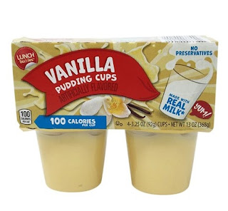 A stock image of Lunch Buddies Vanilla Pudding Cups, from Aldi