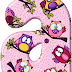 Abecedario Rosado con Búhos de Colores. Pink Alphabet with Owls.