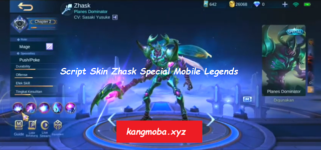 Script Skin Special Zhask Extraterrestrial Full Effect Mobile Legends