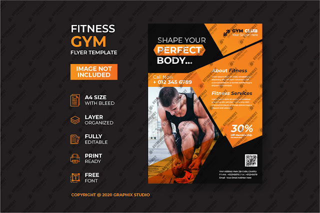Latest gym fitness flyer Free Vector Download
