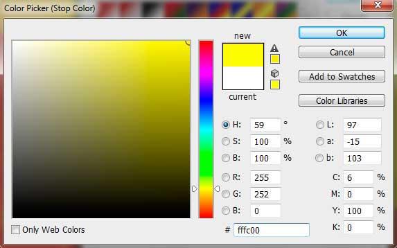 Pada jendela color picker, pilih warna kuning.