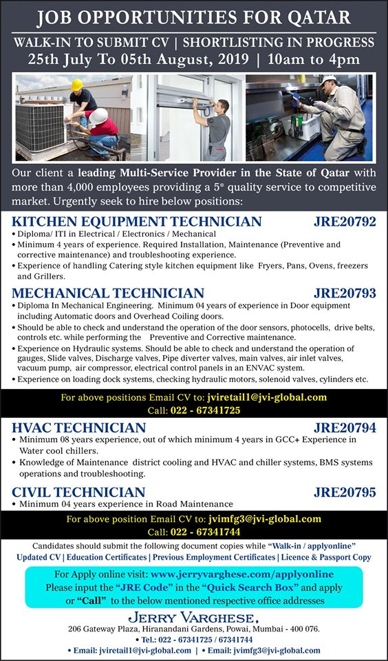 Job Opportunities for Qatar