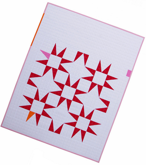 Modern Red and White Star Baby Quilt - Narcissus Motif - Red Pepper Quilts