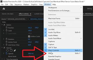 Cara Memunculkan Menu Effect Adobe Premiere
