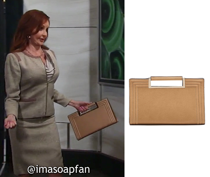 Bobbie Spencer, Jackie Zeman, Brown Top Handle Clutch, Melie Bianco, General Hospital, GH