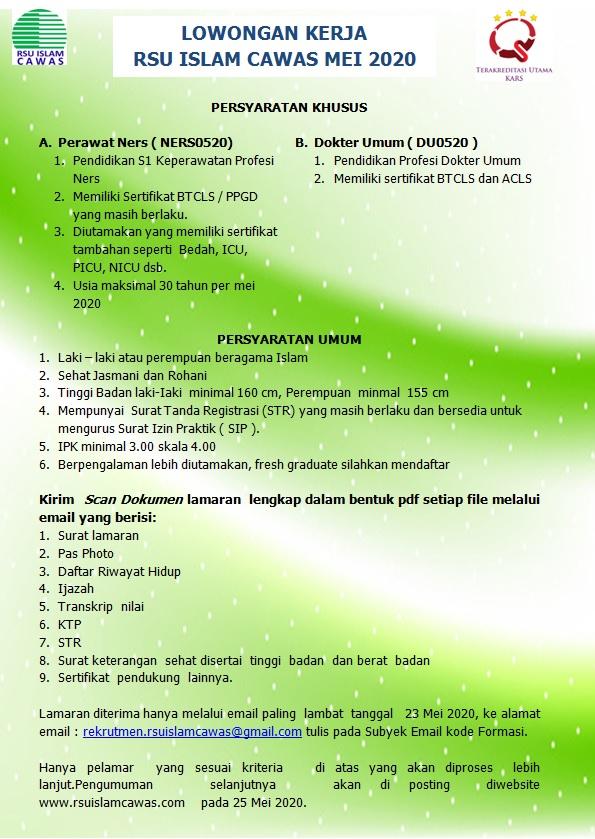 Lowongan Kerja Dokter Umum RSU Islam Cawas Klaten Jawa Tengah
