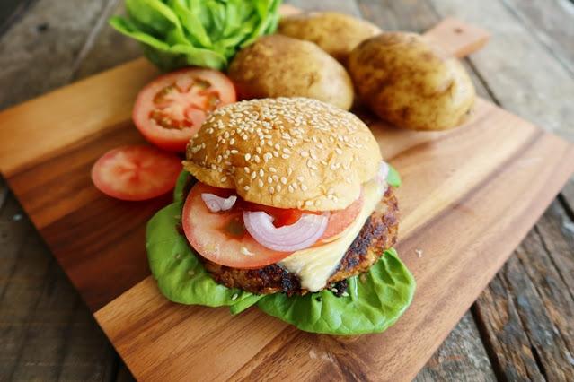 U.S. Potatoes Recipes,  U.S Potato Veggie Burger, Cream of U.S. Potato Broccoli Soup, MY Potatoes USA, Indra Balaratnam, Potato Recipes, Food