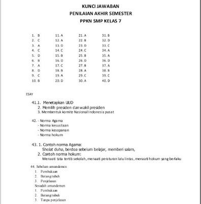 Kunci Jawaban Latihan PAS, UAS PPKn SMP/MTs Kelas VII (7) Semester 1 (Ganjil) Kurikulum 2013, http://www.librarypendidikan.com/