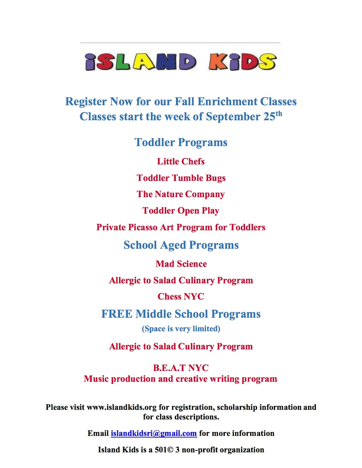 Register Now For Island Kids Fall Enrichment Classes