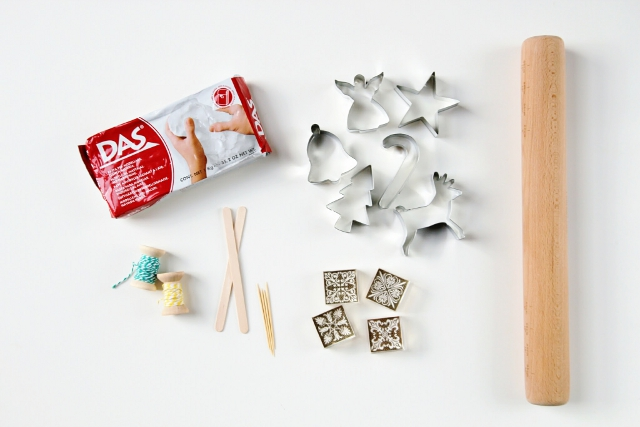 Materials needed to make Diy Watercolour Clay Christmas Decorations