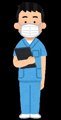青いスクラブを着た医療従事者のイラスト(男性)