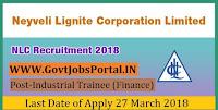 Neyveli Lignite Corporation Recruitment 2018-50 Industrial Trainee (Finance)