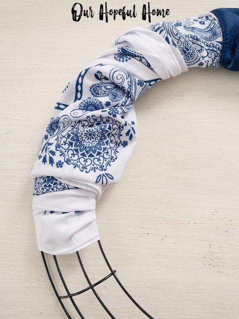 white blue paisley bandana