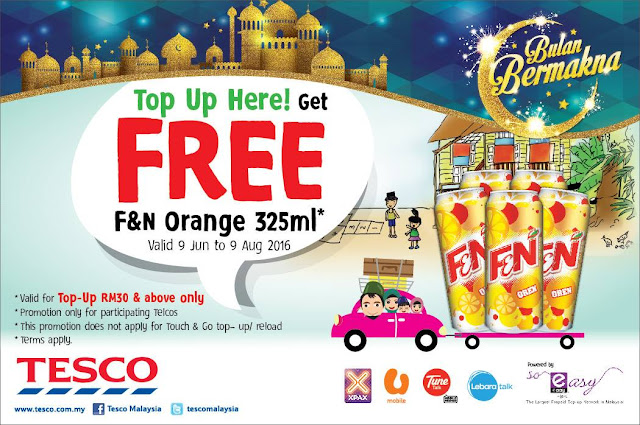 Tesco Malaysia Free F&N Orange Can RM30 Minimum Mobile Top Up