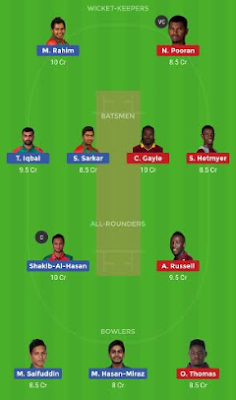 BAN vs WI dream 11 team | WI vs BAN