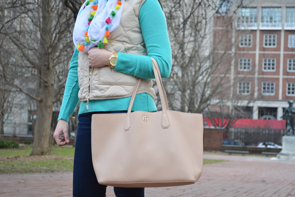 Blush Tory Burch Perry Tote styled with a J.Crew Excursion Vest.