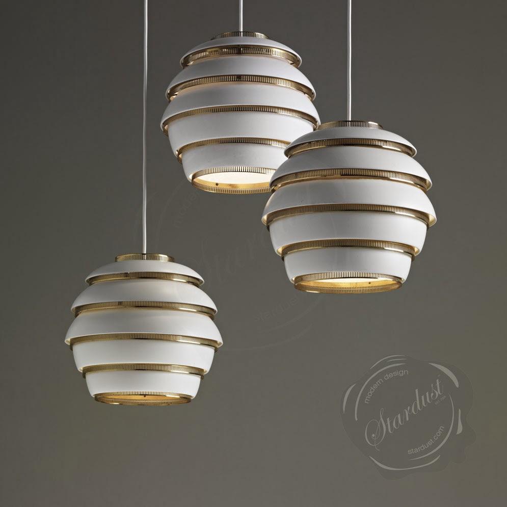 Beehive Light Fixture: White/Brass : Alvar Aalto