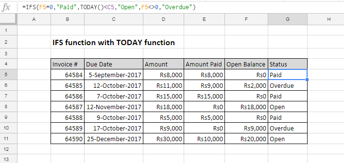 IFS function example in excel 2016