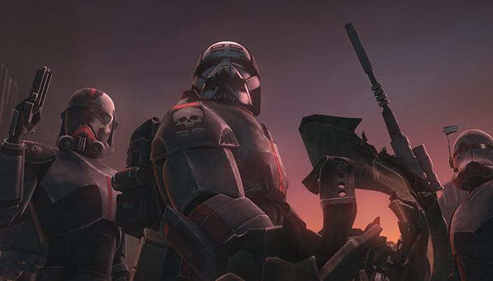 Animação em 3D nos tons azul e roxo escuro. No centro são vários pessoas com com armaduras pesadas e capacetes, eles usam armas e há um símbolo de caveira no ombro das armaduras deles.