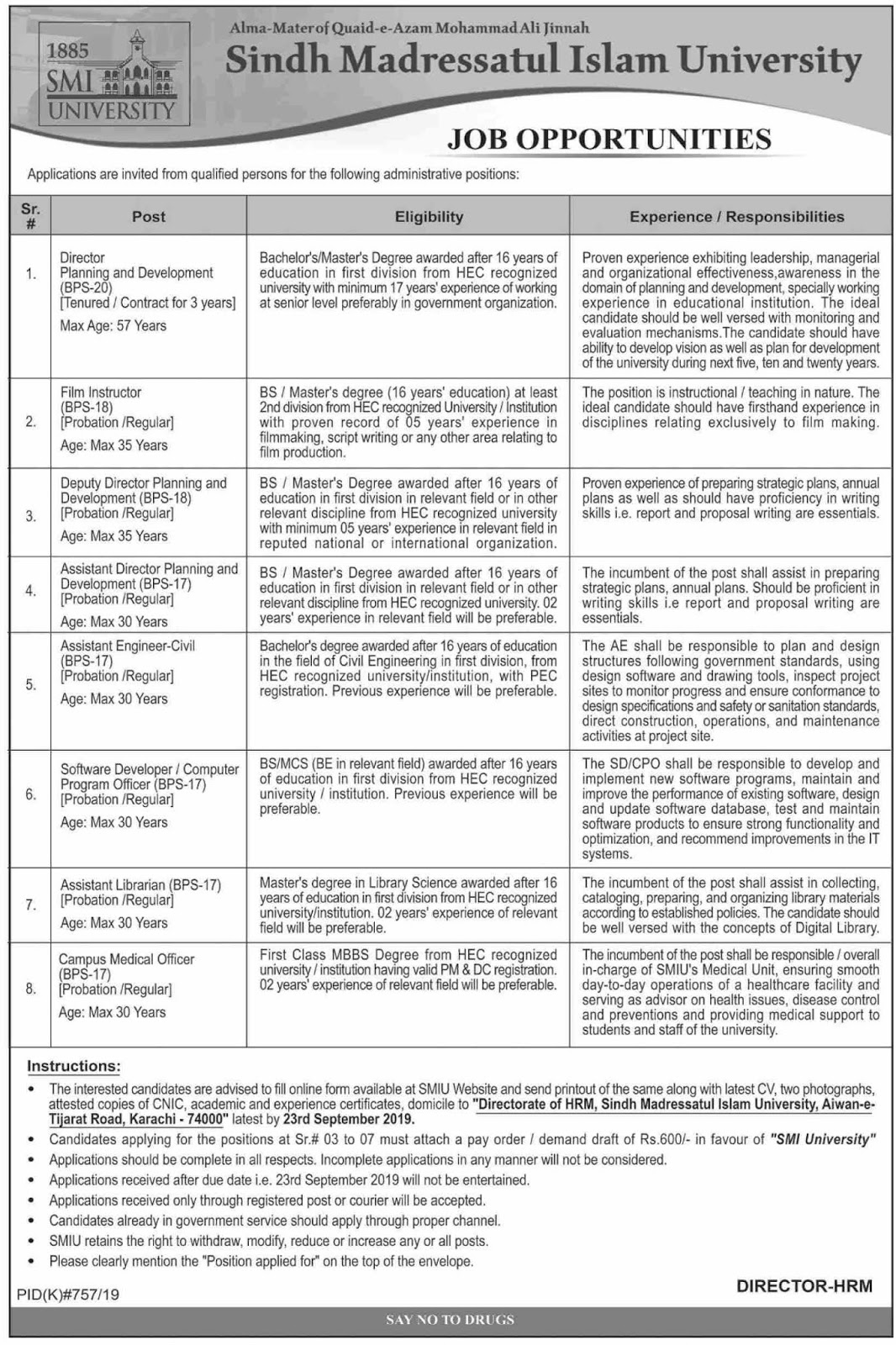 Jobs in Sindh Madressatul Islam University