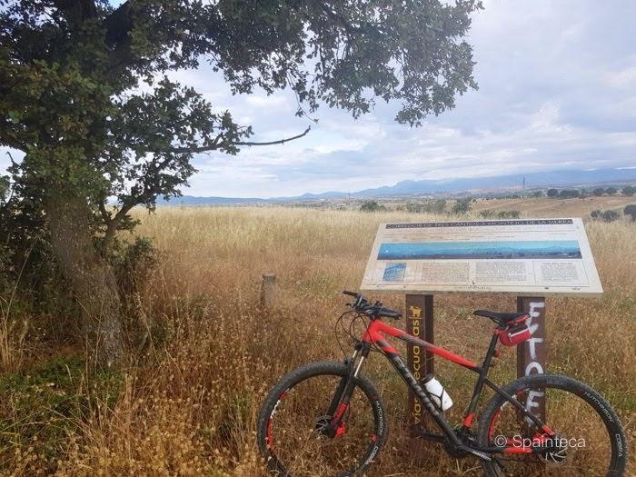 マドリードでサイクリング中に休憩中の野原の景色と自転車