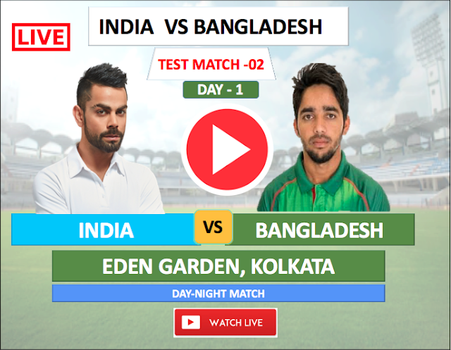 Watch Live Match India vs Bangladesh - 2nd TEST match 7 NOV,  Bangladesh  Tour of India 2019