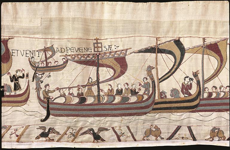 Détail de la tapisserie de Bayeux sur la traversée de la Manche par Guillaume