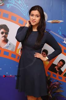 Actress Mannara Chopra Stills in Blue Short Dress at Rogue Song Launch at Radio City 91.1 FM  0029.jpg