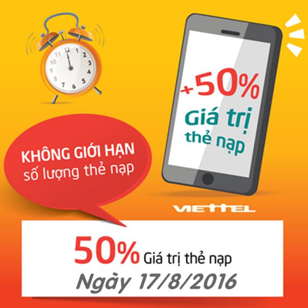Viettel khuyến mãi 50% giá trị thẻ nạp ngày 17/08/2016