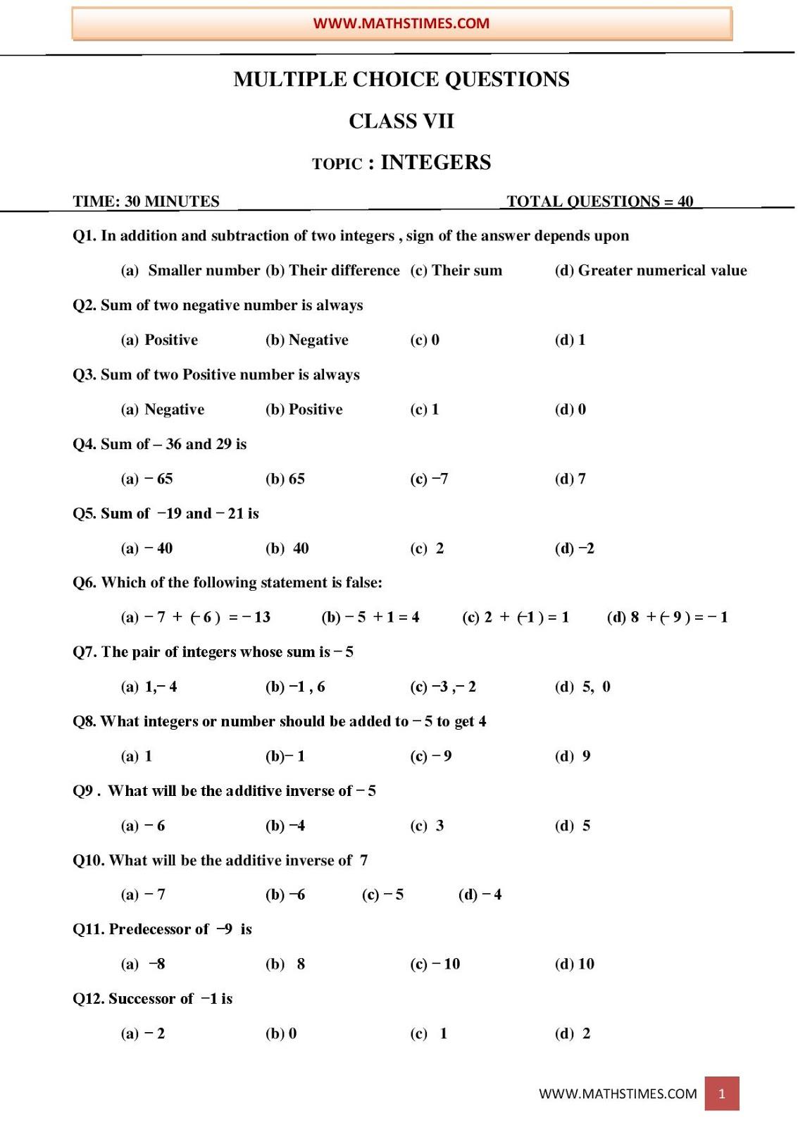 Apsg Class 7 Worksheet