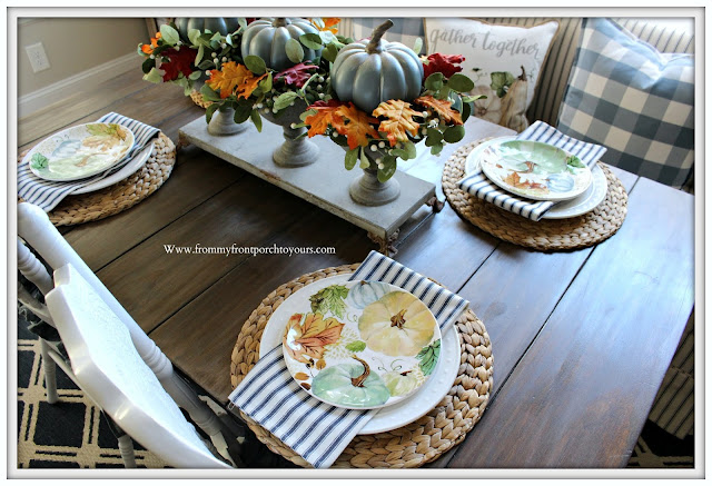 Fall- Pumpkin-Dinnerware-Plates-Blue-White-Green-Ticking-Stripe-Farmhouse-Style-Cottage-Style-From My Front Porch To Yours