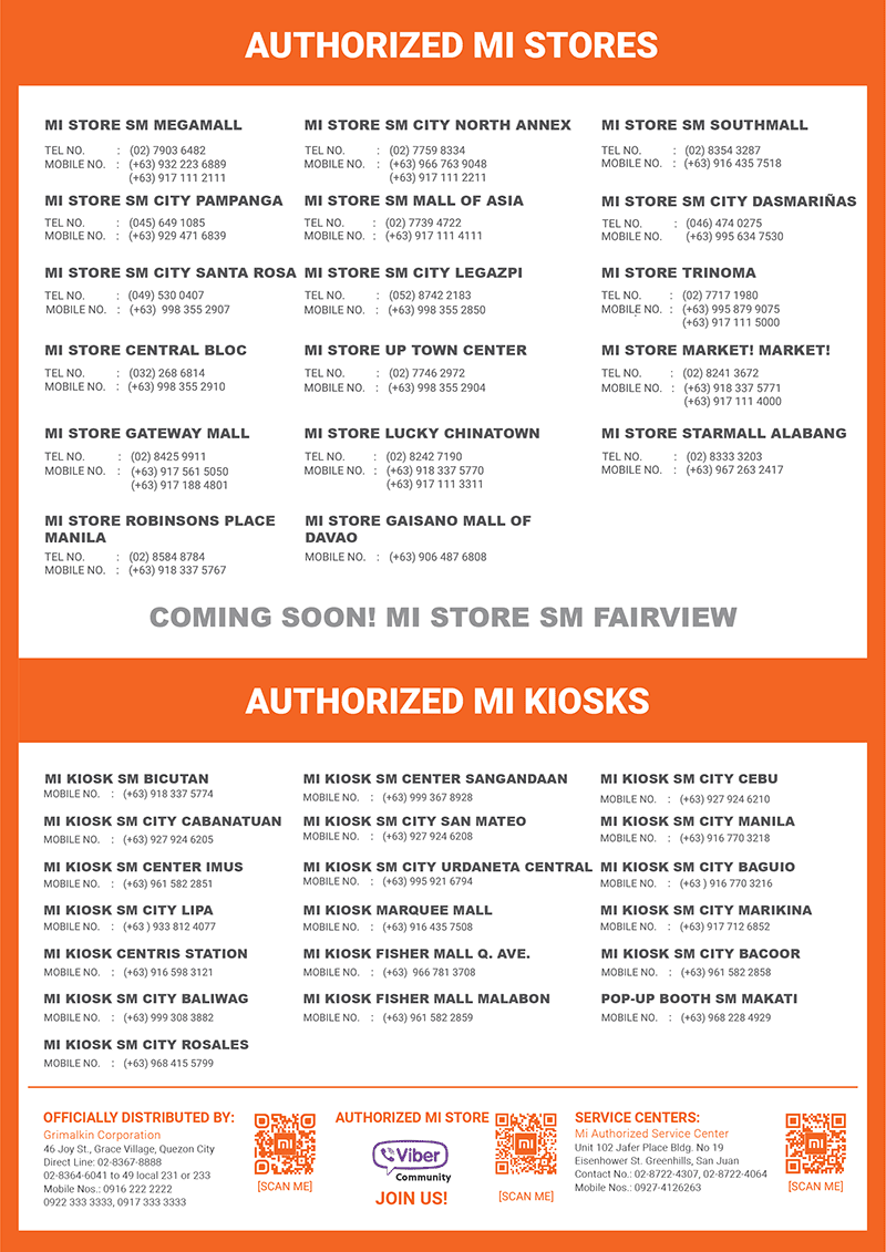 An updated list of Mi Stores and Kiosks nationwide!