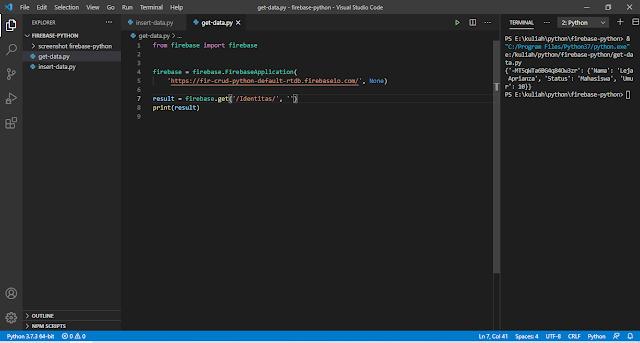 Python Firebase - Mengambil Data dari Database