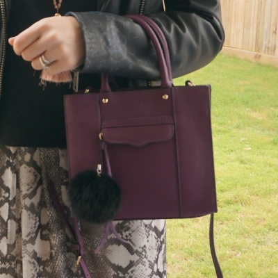 Rebecca Minkoff mini MAB tote in plum with snake print maxi dress | awayfromtheblue