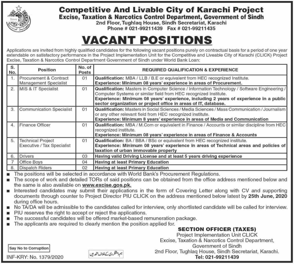 Latest Excise Taxation & Narcotics Control Department Management Posts Karachi 2020