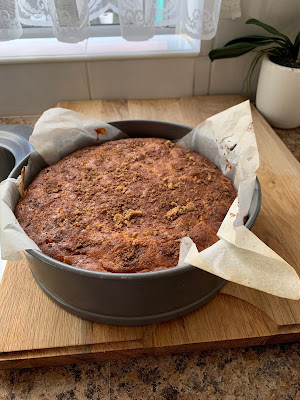 Gluten Free Apple Cinnamon Custard Cake in tin