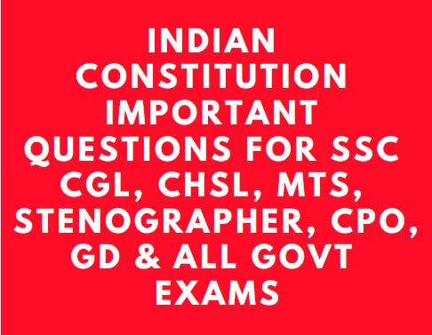 Indian Constitution Previous Year Questions PDF for SSC CGL