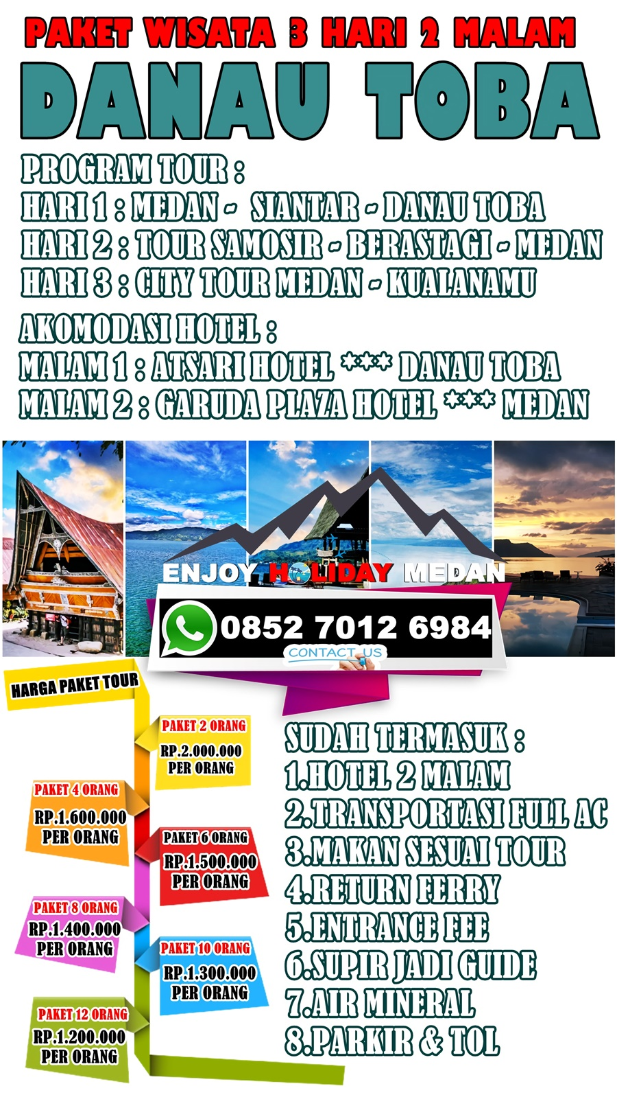 3H2M Paket Tour Medan Bukit Lawang