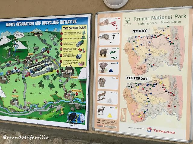 Paneles informativos en Kruger National Park