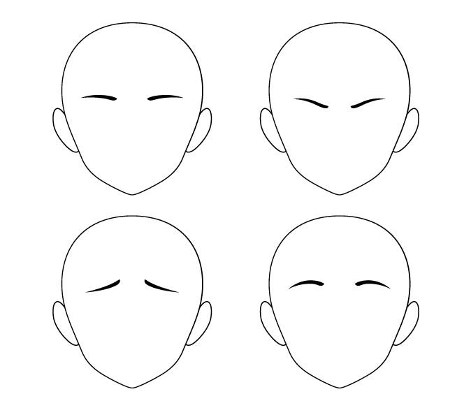 Anime alis pendek posisi berbeda